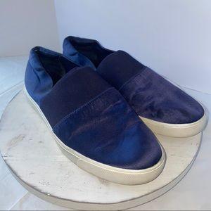Vince Navy Satin Platform Sneaker women's 10